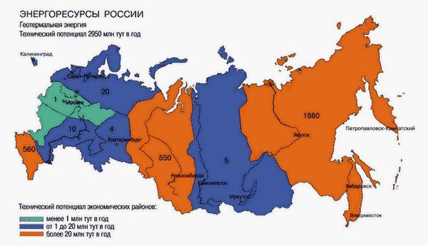 Геотермальна енергія Росії, потенціал