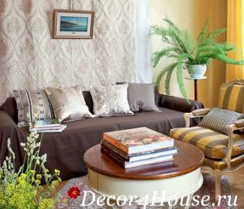 текстильний дизайн в вітальні квартири
