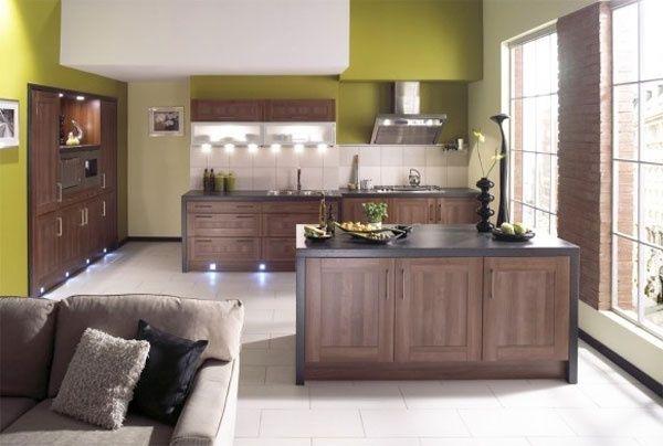 Оливковий фон, шпалери на кухні фото