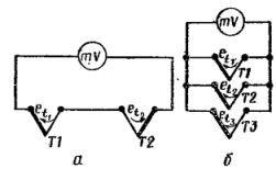Схеми включення термоелектричних перетворювачів: а - при вимірюванні різниці температур між 2-ма точками, б - при вимірюванні середньої температури декількох точок.