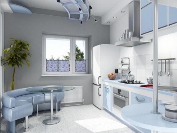 Блакитна кухня з підсвічуванням