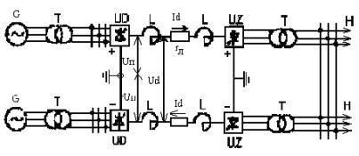 Схема передачі незмінного струму в післяаварійний режимі