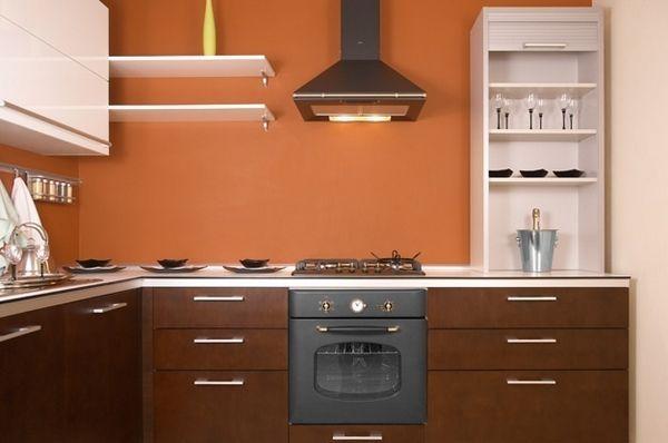 Ніжна кухня персикового кольору фото