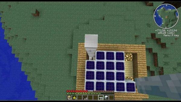 Вид з верху сонячної батареї в майнкрафт
