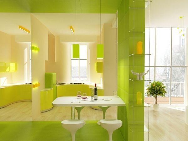 Жовто-зелена кухня фото