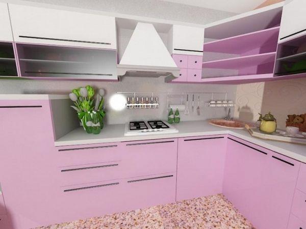 Рожевий колір в інтер`єрі кухні фото