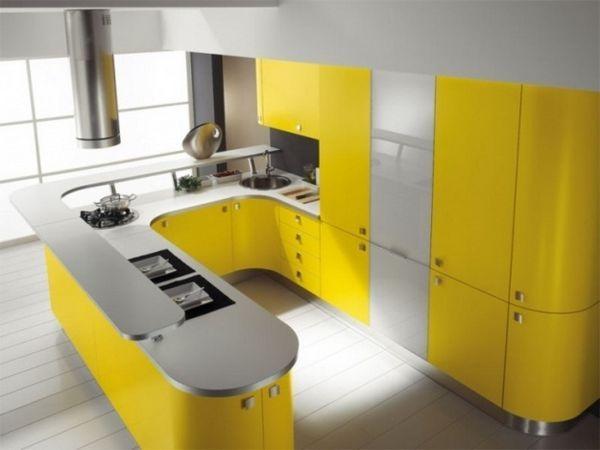 Жовтий колір в інтер`єрі кухні фото