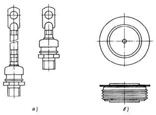 Конструкція корпусів діодів: а - штиревая- б - таблеточна