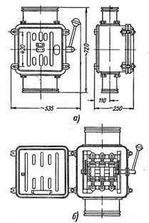 Ящик силовий типу ЯВ3: а - вид ящика, б - ящик ЯВ3 з відкритими дверима
