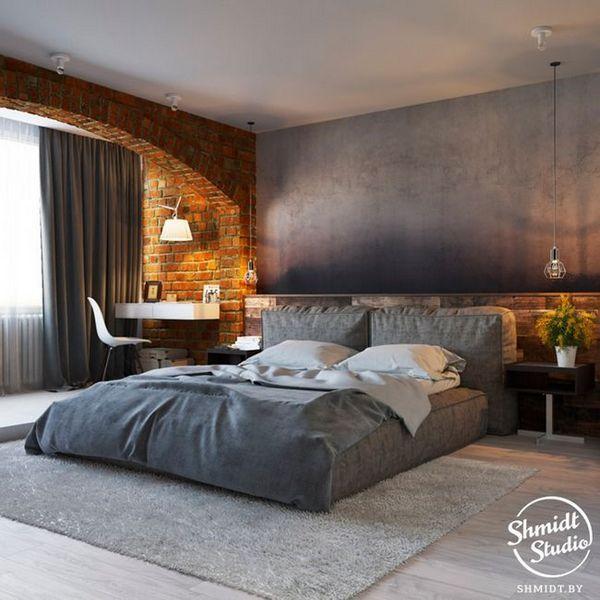 Спальна кімната в стилі лофт фото
