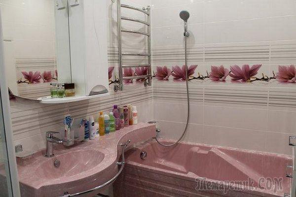 Ванна сантехніка в рожевому камені