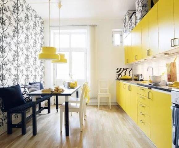 Вибираємо сонячний інтер`єр кухні в жовтому кольорі